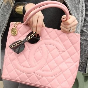 Chanel Medallion Baby Pink Caviar Leather Tote